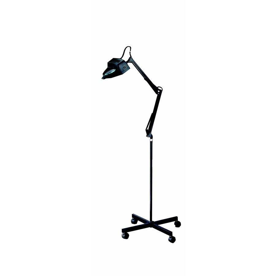 Style Selections 60-in Black Painted Finish Indoor Floor Lamp with Plastic Shade
