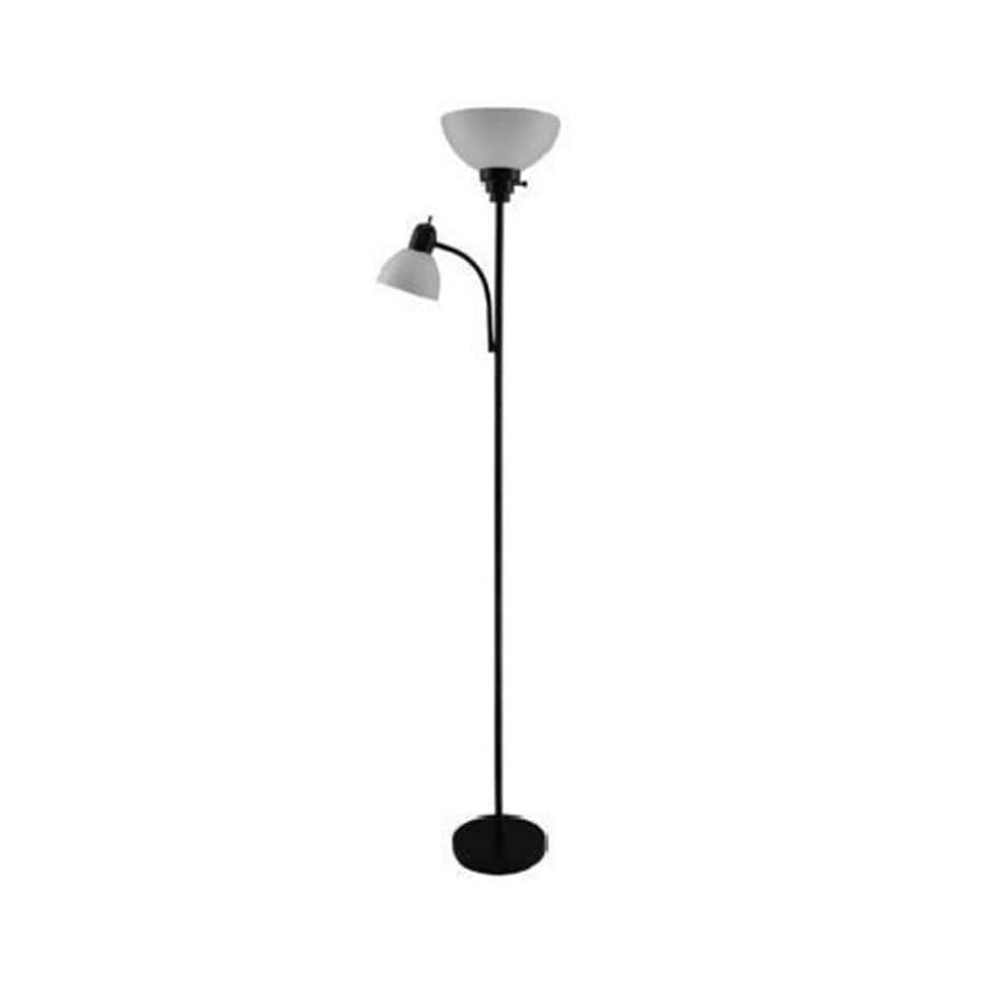 Portfolio 71-in Three-Way Black Casual/Transitional Standard Torchiere with Side-Light Indoor Floor Lamp with Plastic Shade