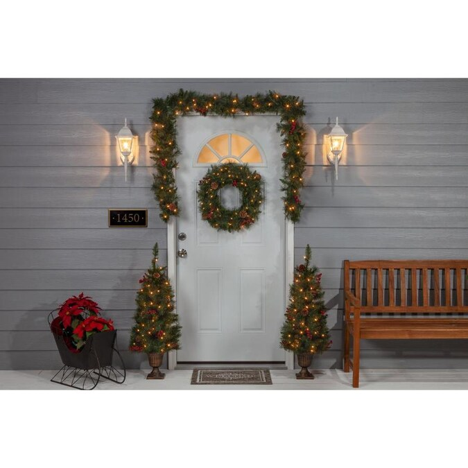 Sterling Tree Company 3-ft Pre-Lit Assorted Artificial Christmas Tree with 200 Constant White ...