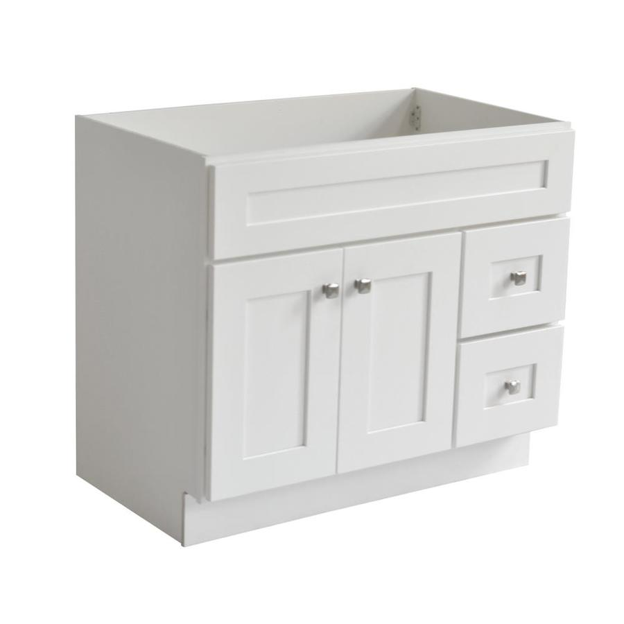 D 2-Door Shaker Style Bath Vanity Cabinet Only in White W x 21 in Design House 559039 Brookings Ready to Assemble 36 in