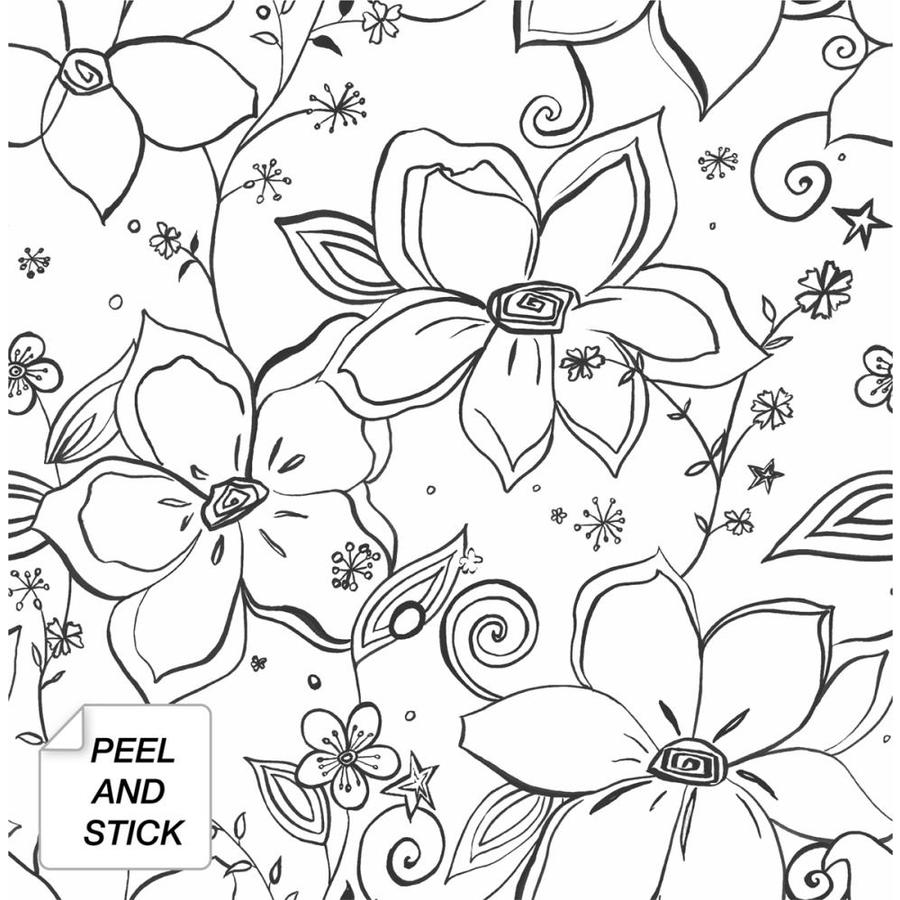 Nextwall 30 75 Sq Ft Black And White Linework Floral Self Adhesive Peel And Stick Wallpaper In The Wallpaper Department At Lowes Com