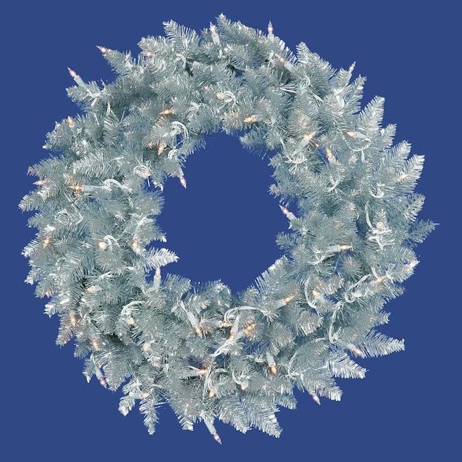 24 Vickerman Metal Mix Tinsel Artificial Wreath with 50 Clear Mini-Lights