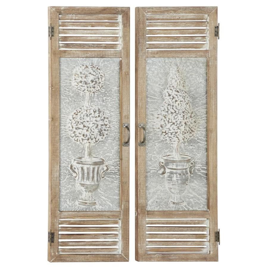Grayson Lane Large Wood And Metal Garden Door Wall Decor Panels Set Of 2 15 In X 52 The Art Department At Lowes Com