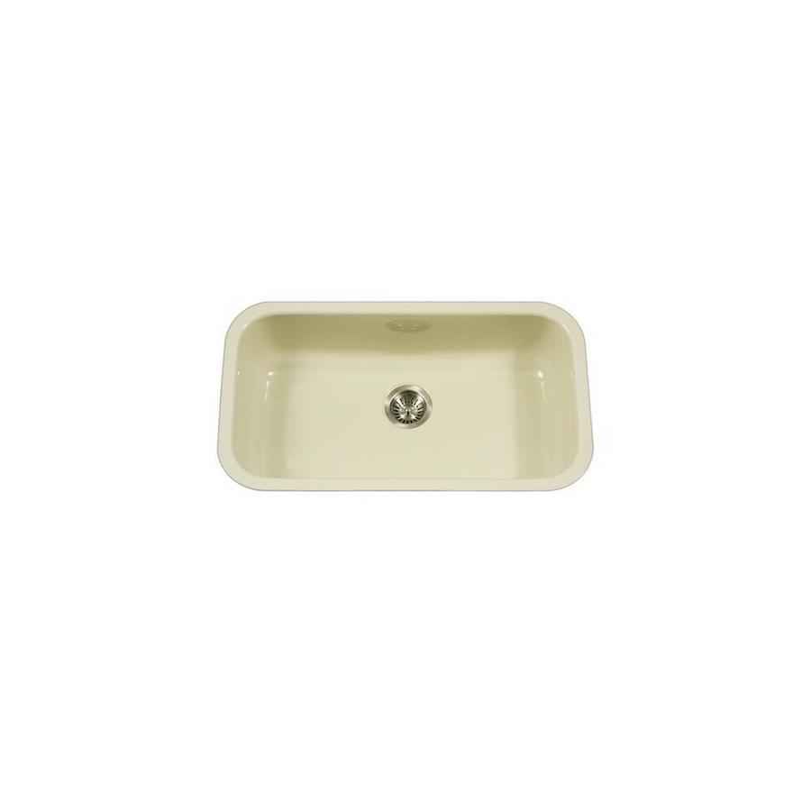 Houzer Pcg 3600 Bq Porcela Series Porcelain Enamel Steel Undermount Large Single Bowl Kitchen Sink Biscuit In The Endless Aisle Department At Lowes Com
