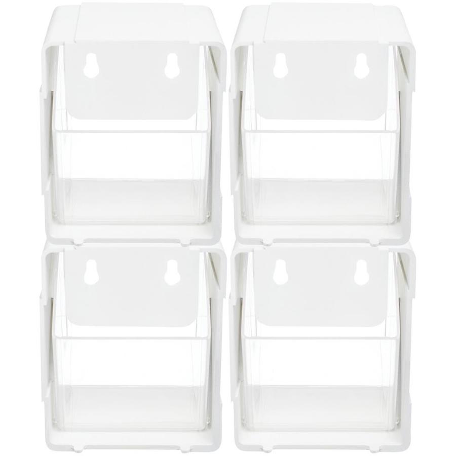 5.2 x 5.54 x 4.65 Deflecto Single Tilt Bins 421103CR 4-Pieces White