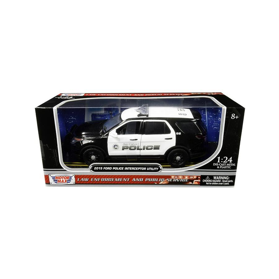 2015 FORD INTERCEPTOR POLICE CAR BLACK /& WHITE 1//24 DIECAST MODEL MOTORMAX 76954