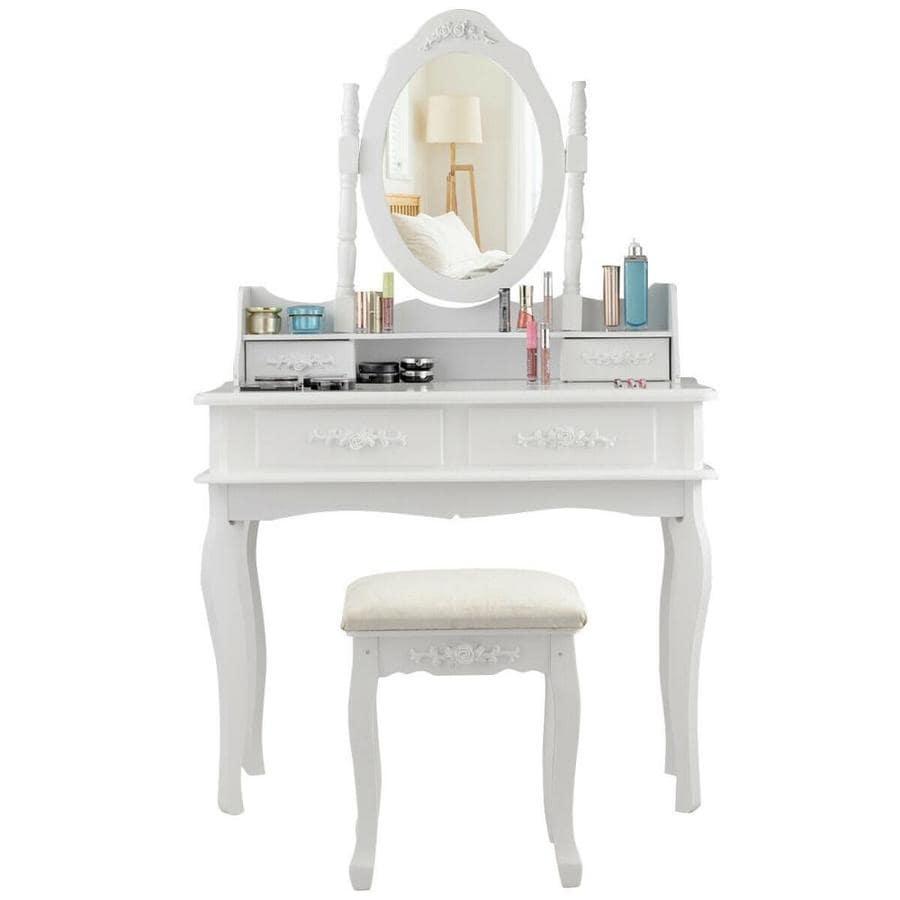 Goplus 14 In White Makeup Vanity The