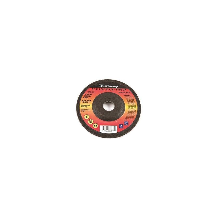 FORNEY 71878 Type 27 A24R 1//4 x 5 Metal//Steel Grinding Wheel 7//8 Arbor