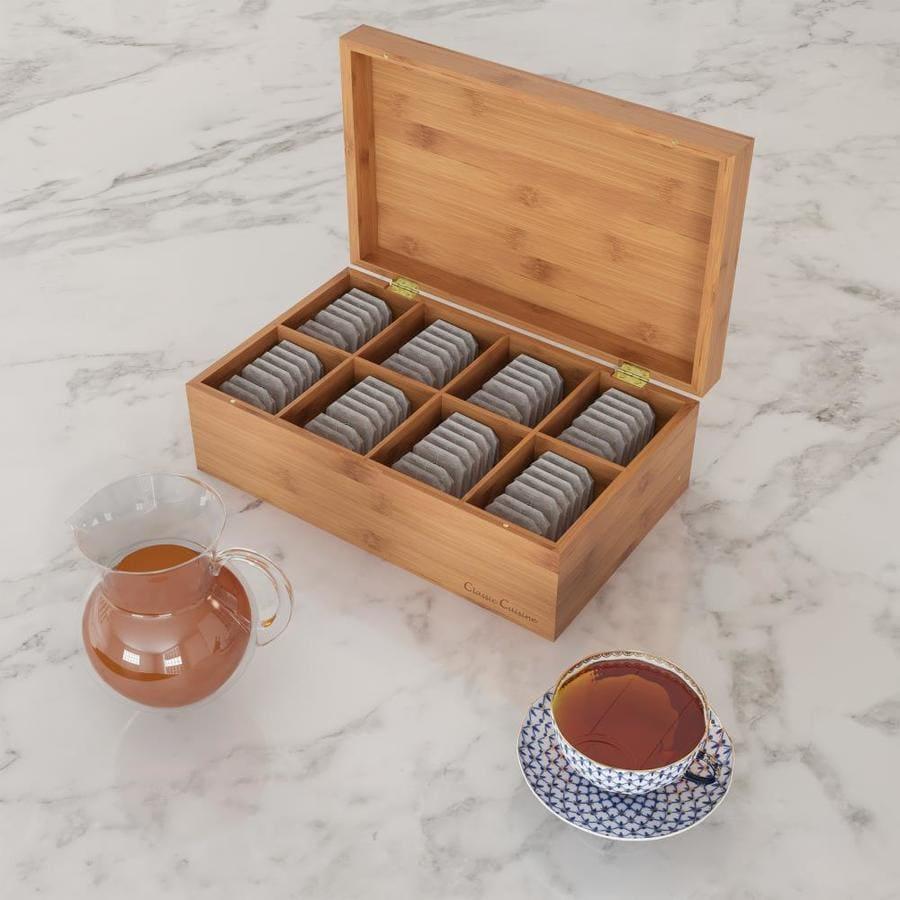 Tea Box Six Compartment Tea Bag Organiser Wooden Glass Lid Caddy Storage