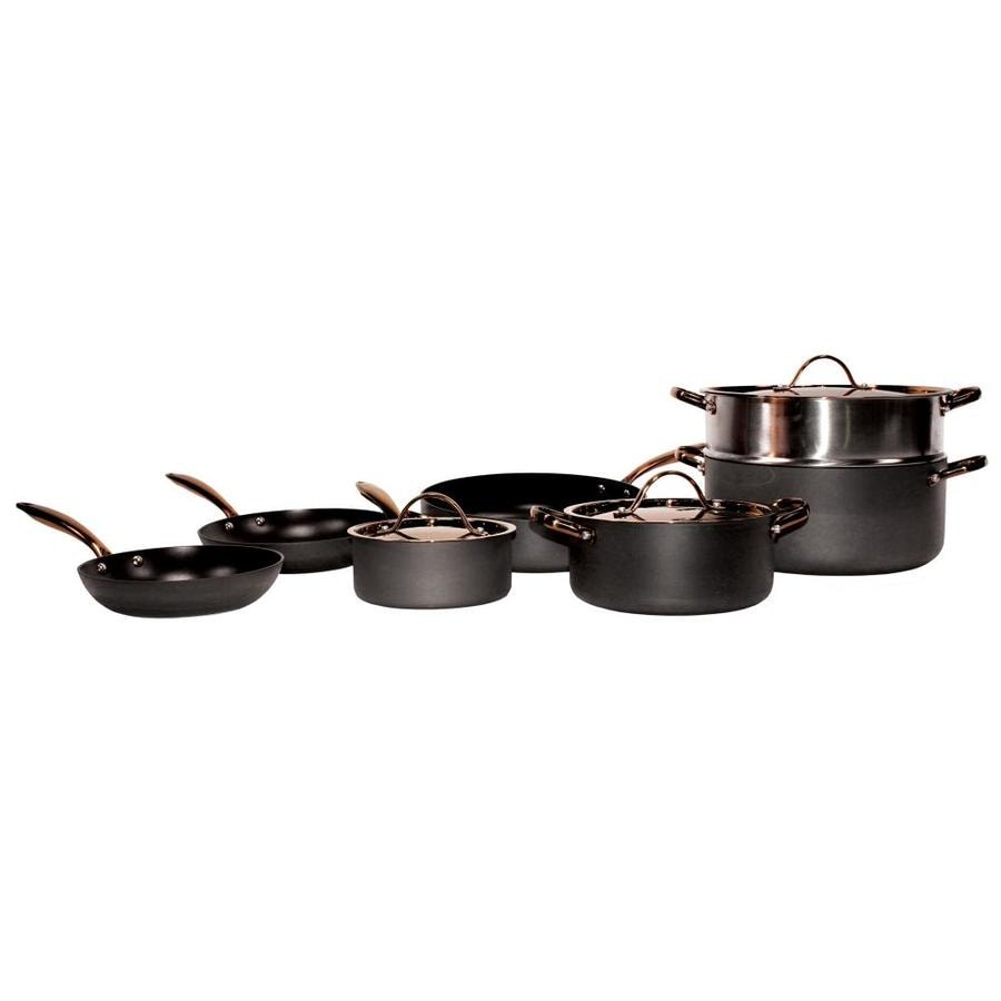 Berghoff Black Hard Anodized 10pc Chef S Set Rose Gold Handles In The Cooking Pots Department At Lowes Com