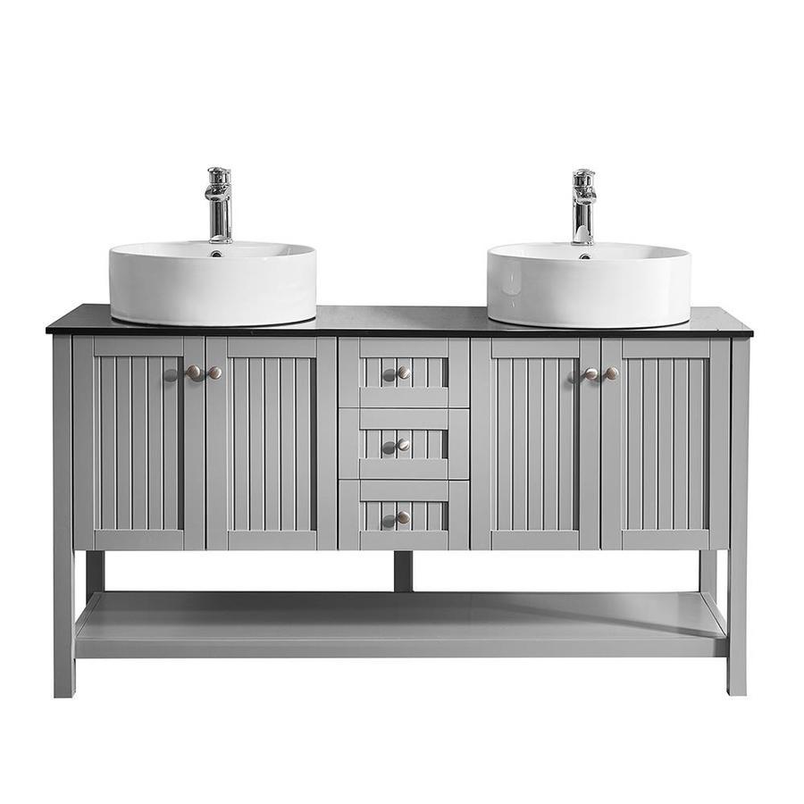 Vinnova Modena 60 In Grey Double Sink Bathroom Vanity With Black Glass Top The Vanities Tops Department At Lowes Com