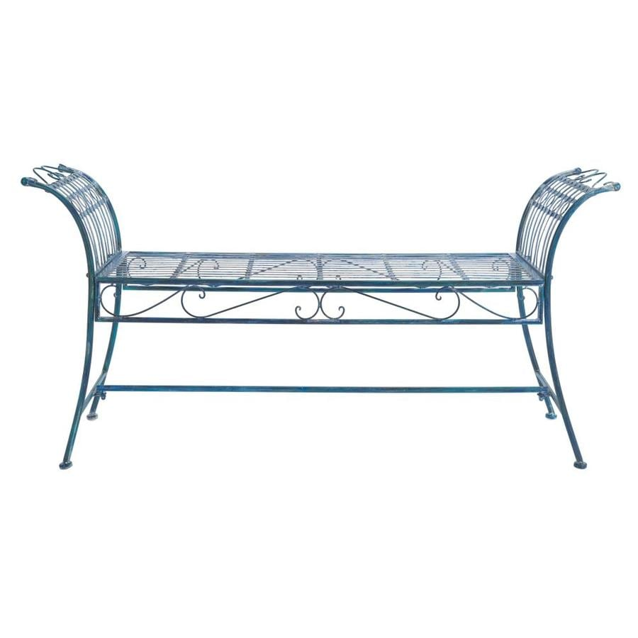 Safavieh Hadley 56 3 In W X 27 L Antique Blue Bench The Patio Benches Department At Lowes Com