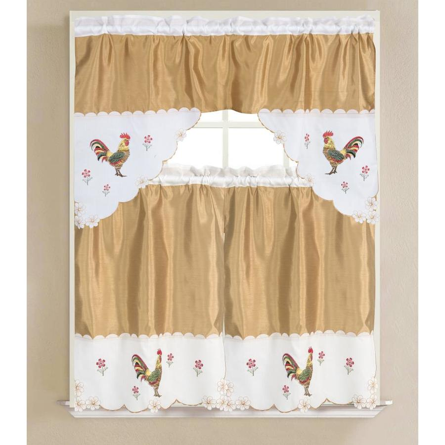 Olivia Gray Gold Vivid Rooster Embroidered 3 Piece Kitchen Curtain Set In The Valances Department At Lowes Com