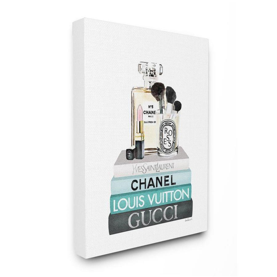 24 x 30 White Stupell Industries Glam Essentials Above Iconic Designer Bookstack Wall Art