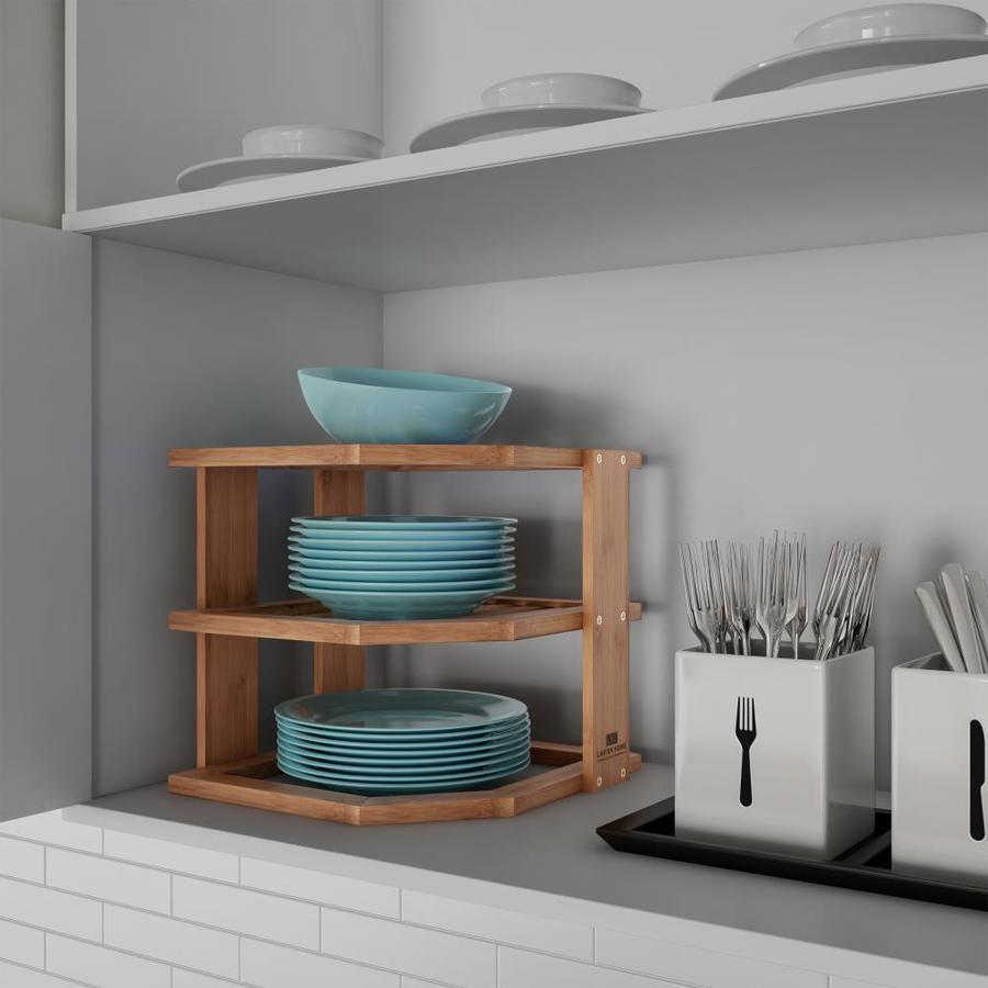 Hastings Home 3 Tier Bamboo Corner Shelf For Kitchen Or Bathroom Cabinet Countertop Cupboard Storage And Organizer Natural Wood By In The Dining Department At Lowes Com