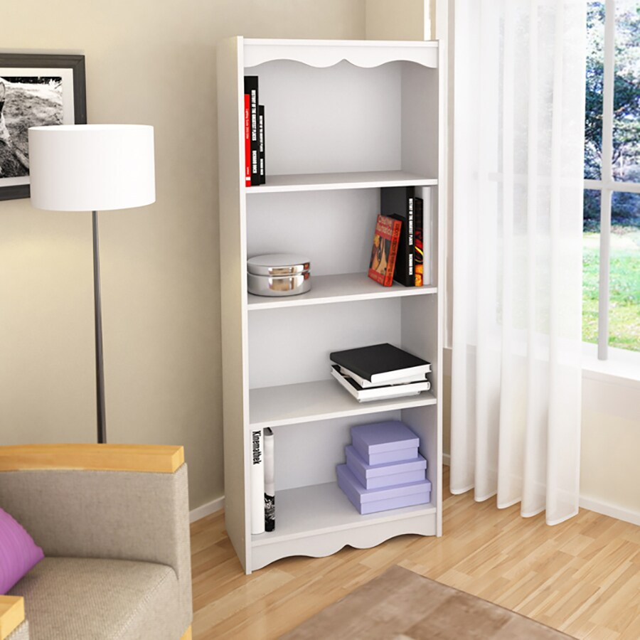 CorLiving Hawthorn Frost White 24-in W x 60-in H x 12-in D 4-Shelf Bookcase
