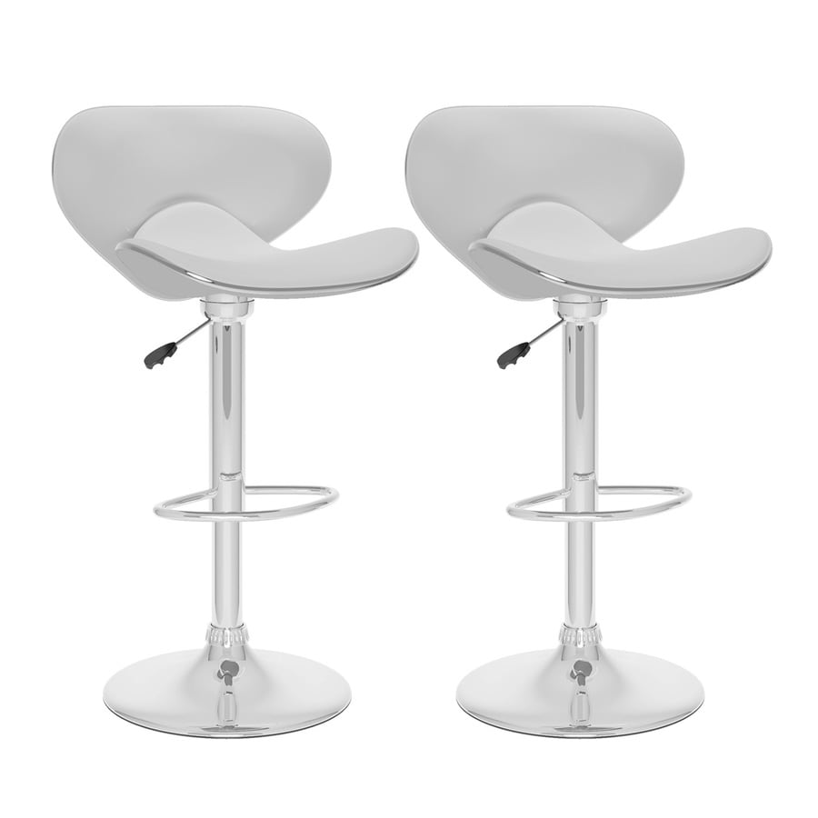 CorLiving Set of 2 CorLiving White Leatherette 32.5-in Bar Stools