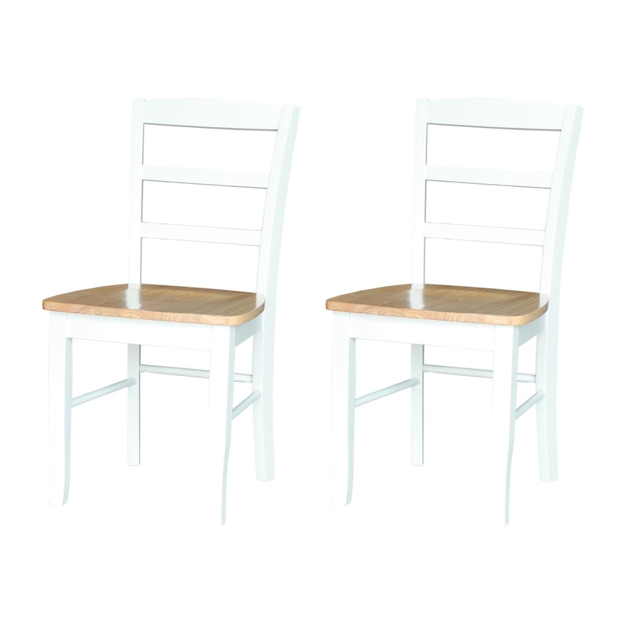 International Concepts Set of 2 Madrid White/Natural Side Chairs