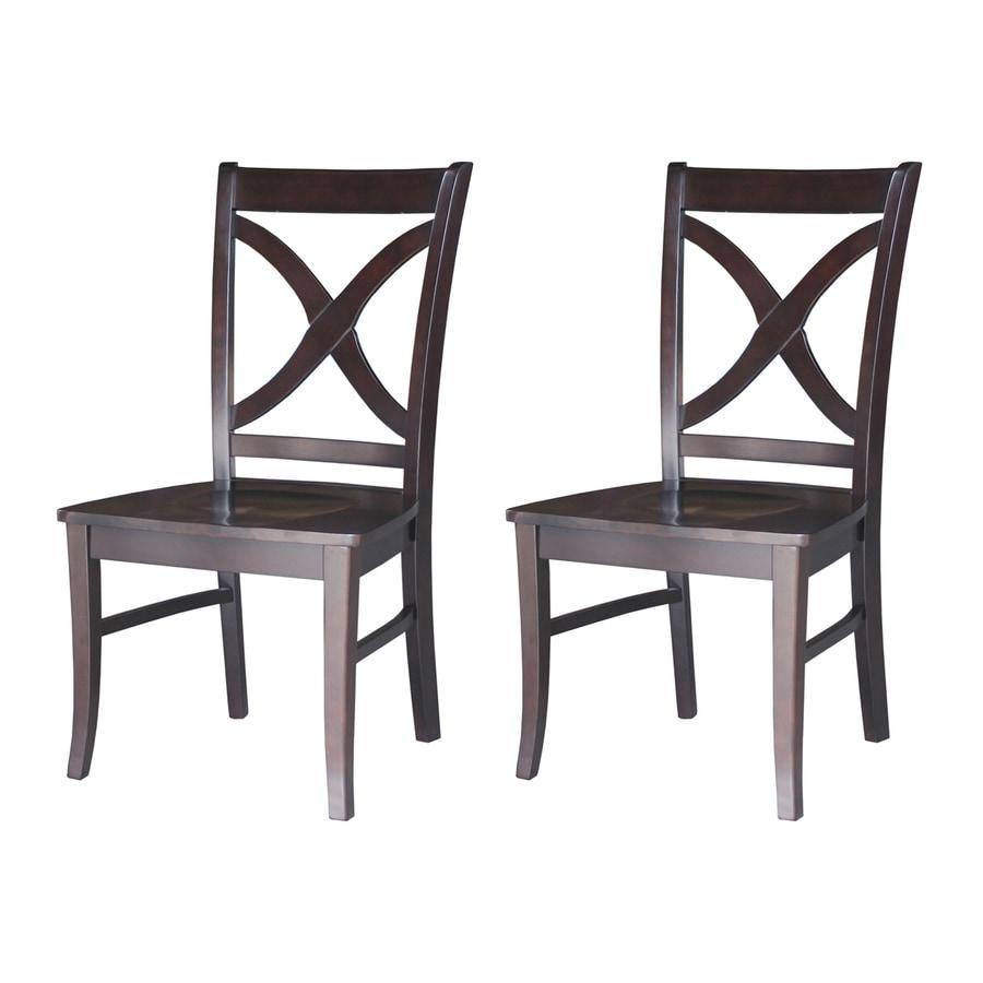 International Concepts Set of 2 Salerno Dark Walnut Side Chairs