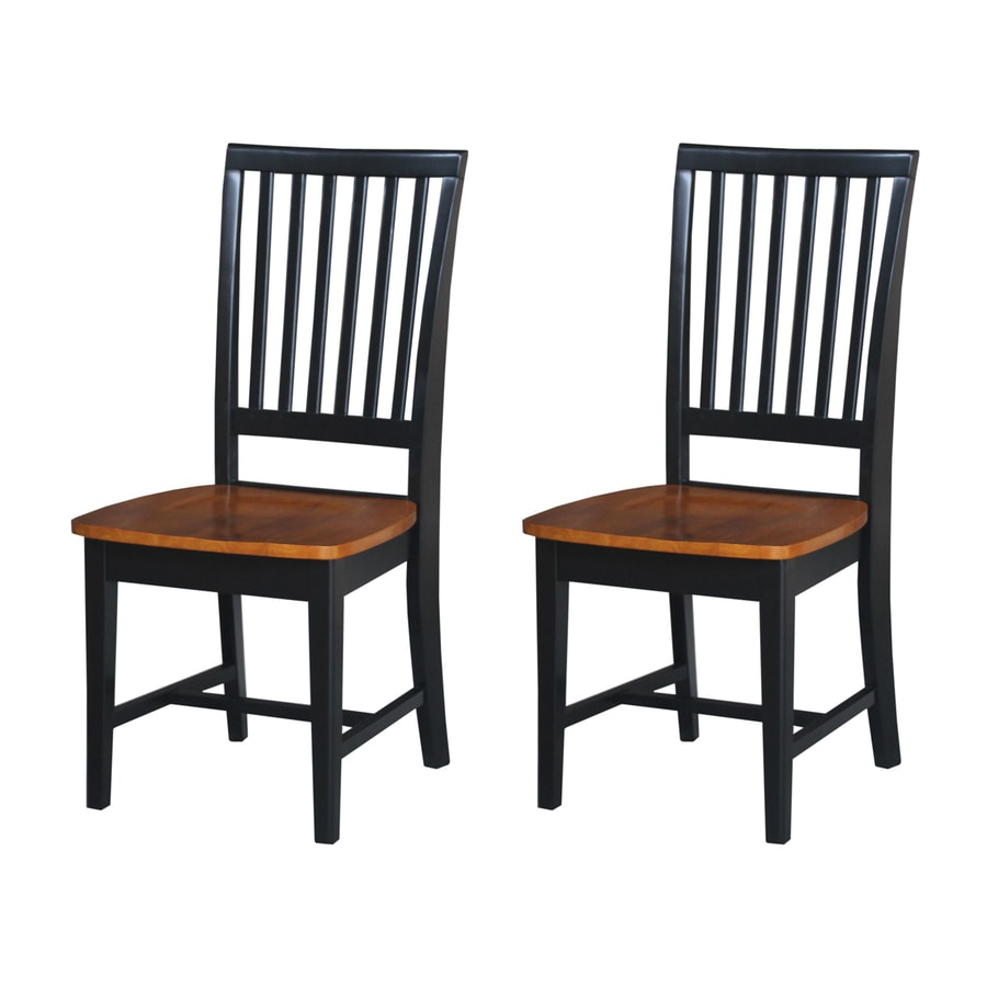 International Concepts Set of 2 Mission Black/Cherry Side Chairs