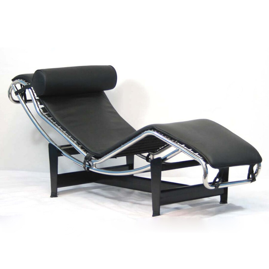 Shop modway le corbusier black leather chaise at for Black leather chaise