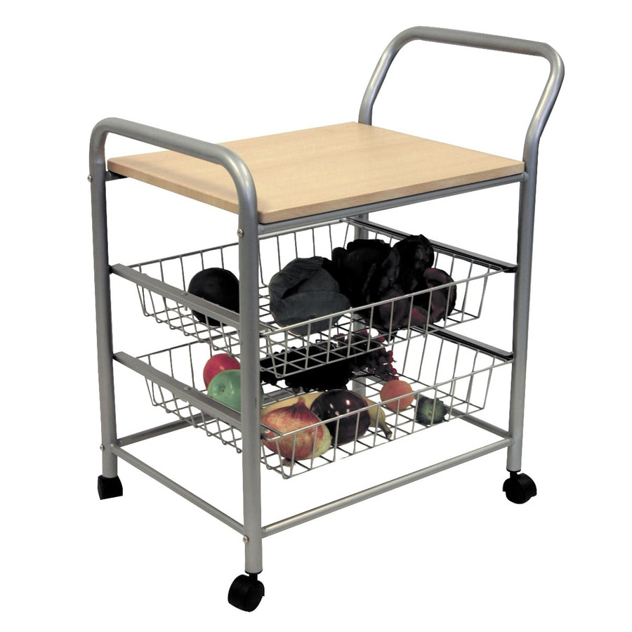 ORE International Chrome and Oak Rectangular Kitchen Cart
