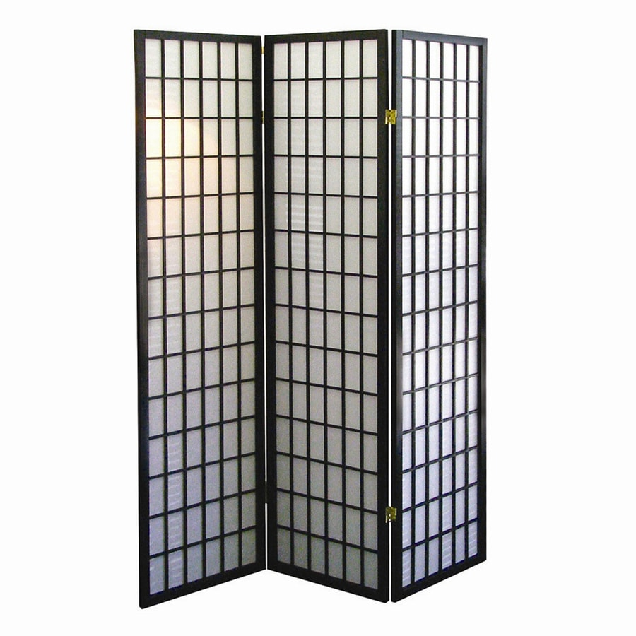 Shop ore international 3 panel black wood and fabric for Lattice panel privacy screen