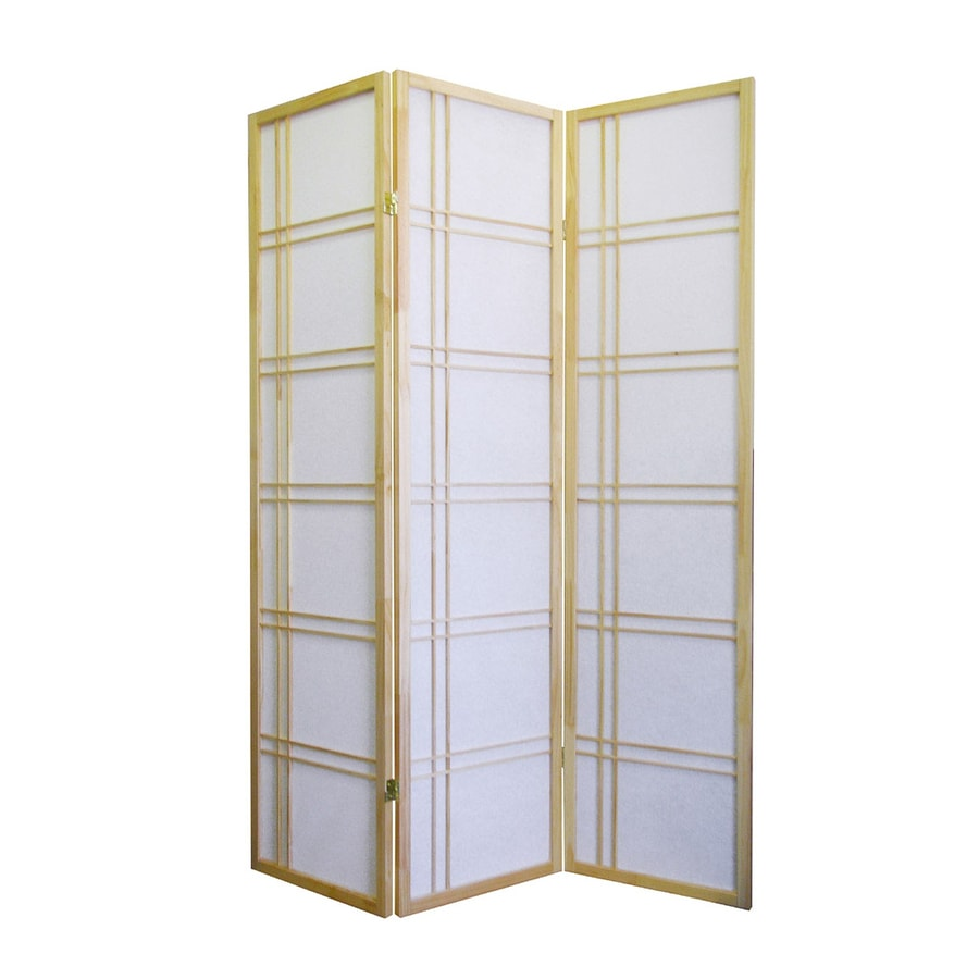 ORE International 3-Panel Natural Wood and Fabric Folding Indoor Privacy Screen