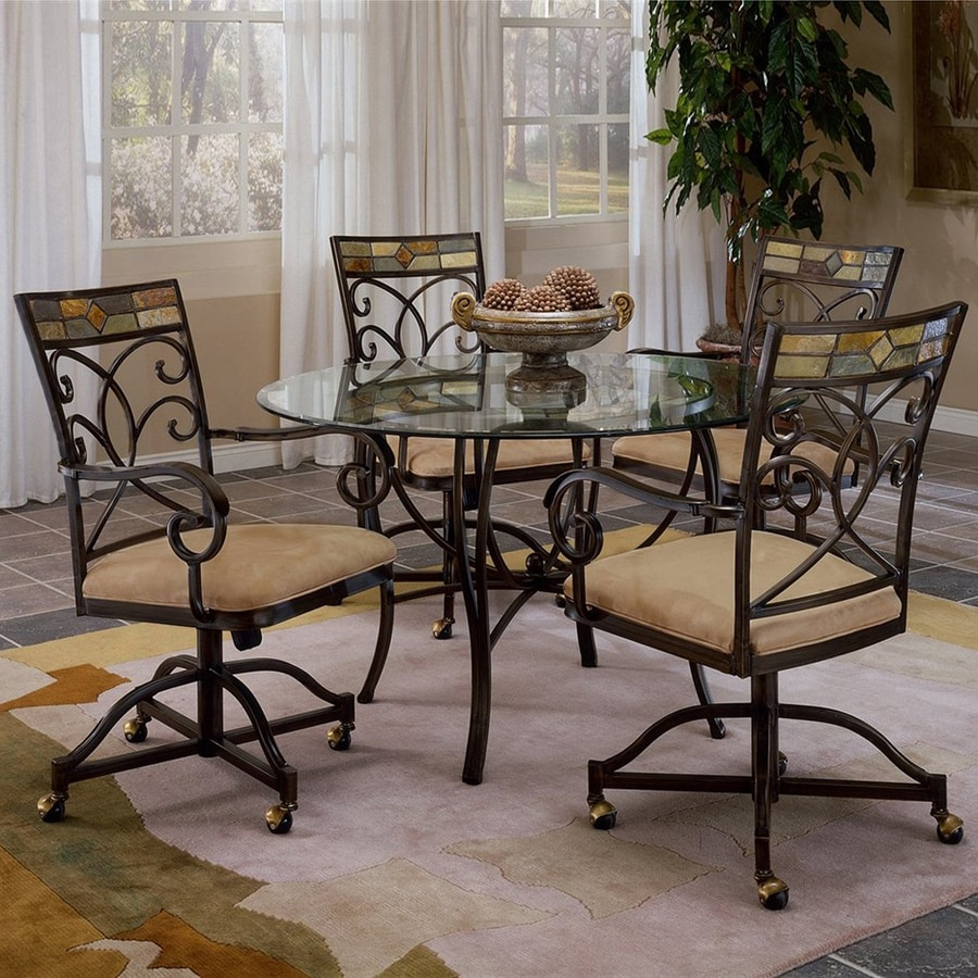 Hillsdale Furniture Pompei Black Gold/Slate Mosaic Dining Set with Round Table