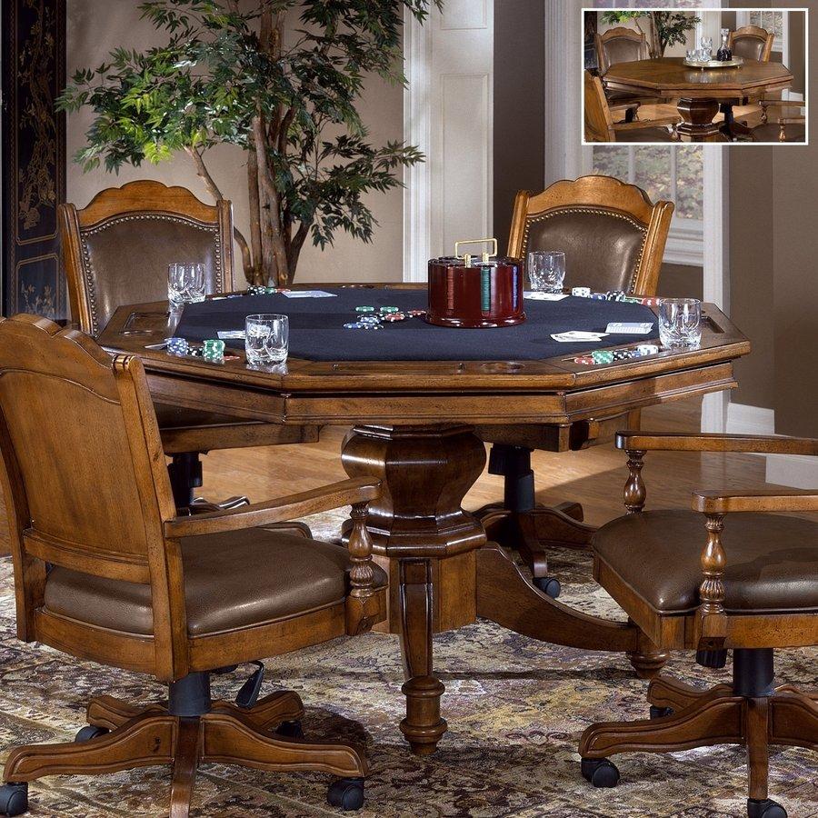 Hillsdale Furniture Nassau Brown Round Wood Poker Table
