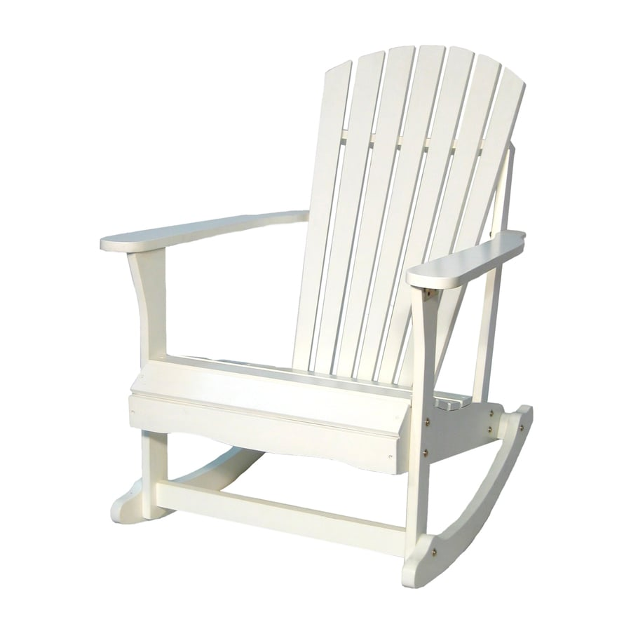 International concepts white acacia patio rocking chair at lowes com