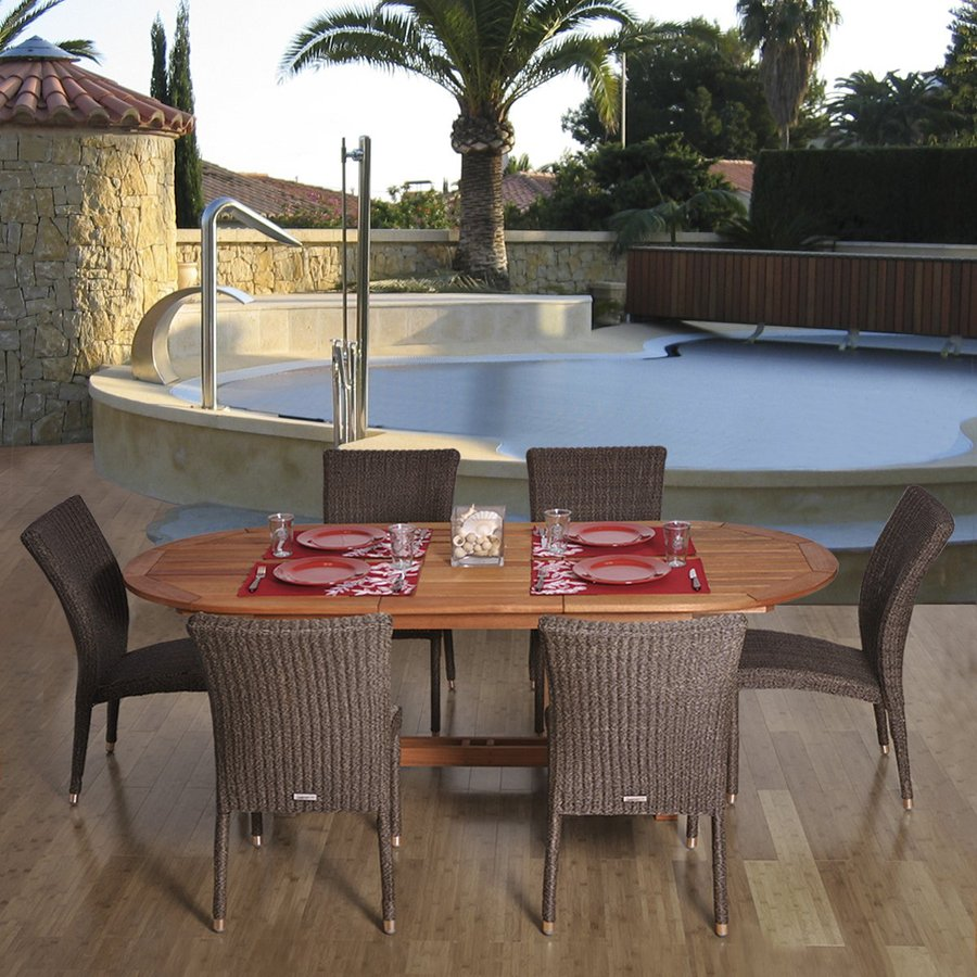 International Home Amazonia 7-Piece Brown Eucalyptus Patio Dining Set