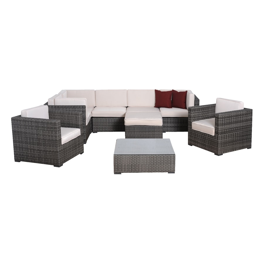 International Home Atlantic 9-Piece Wicker Patio Conversation Set