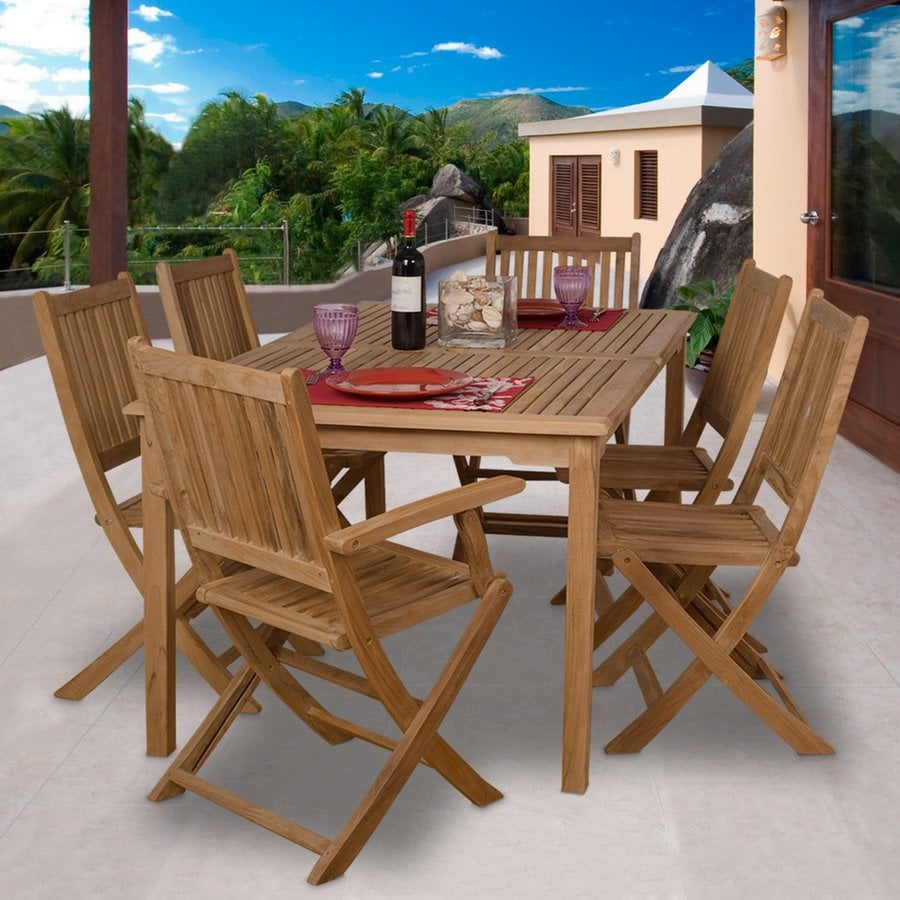 Shop international home amazonia teak 7 piece teak patio for Patio dining sets with bench seating