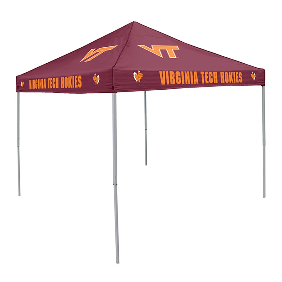 Logo Chairs Tailgating Tent 9-ft W x 9-ft L Square NCAA Virginia Tech University Hokies Steel Pop-Up Canopy