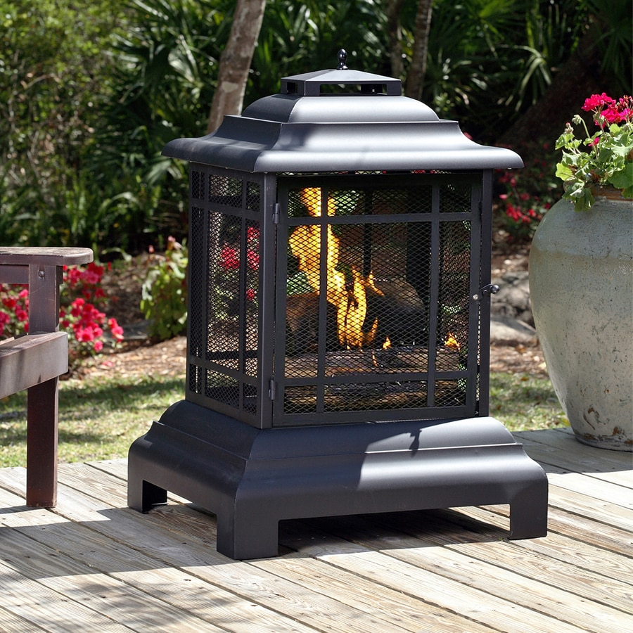 Fire Sense Black Steel Outdoor Wood-Burning Fireplace