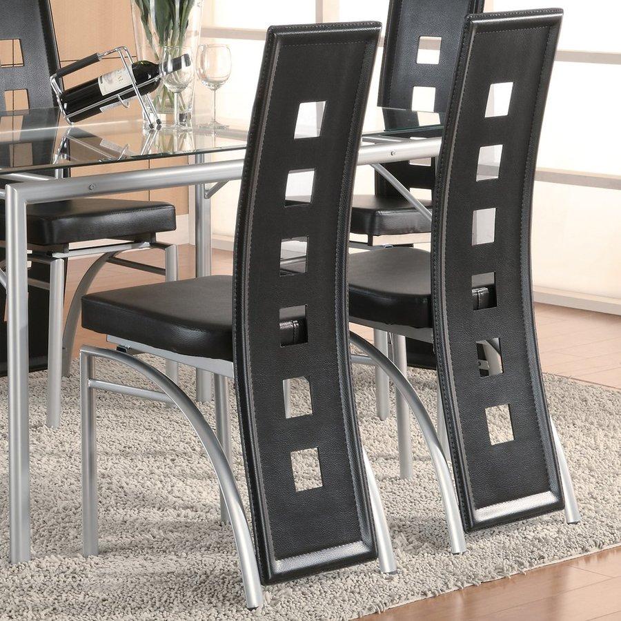 Coaster Fine Furniture Set of 2 Los Feliz Silver/Black Side Chair