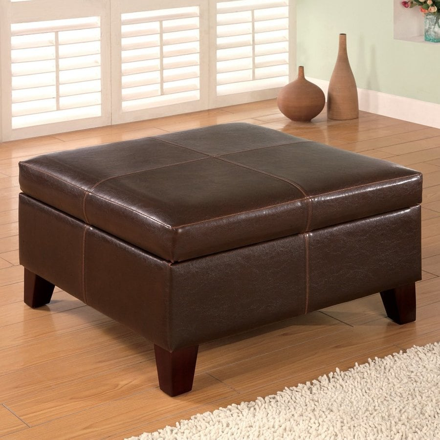Coaster Fine Furniture Dark Brown Square Storage Ottoman