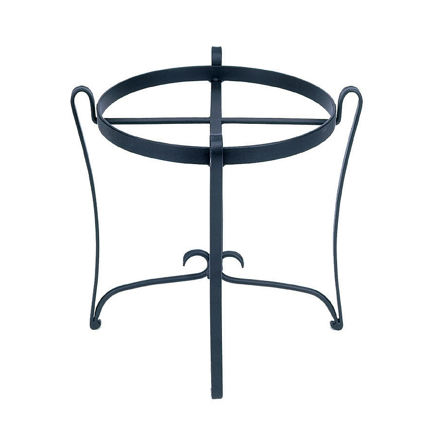 ACHLA Designs 18-in Black Indoor/Outdoor Round Wrought Iron Plant Stand