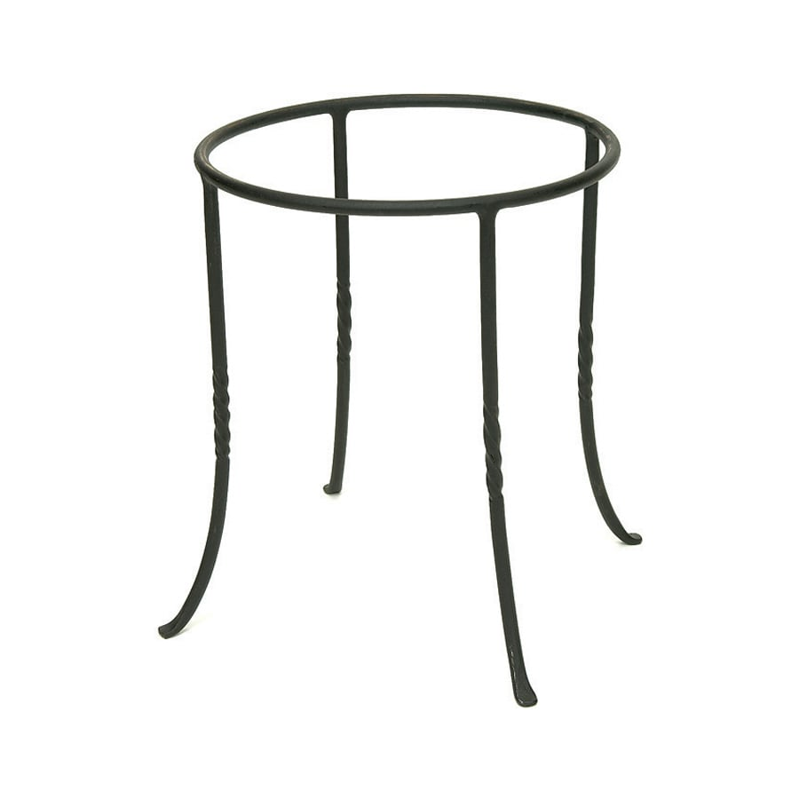 shop achla designs 14 in black indoor outdoor round wrought iron plant stand at. Black Bedroom Furniture Sets. Home Design Ideas