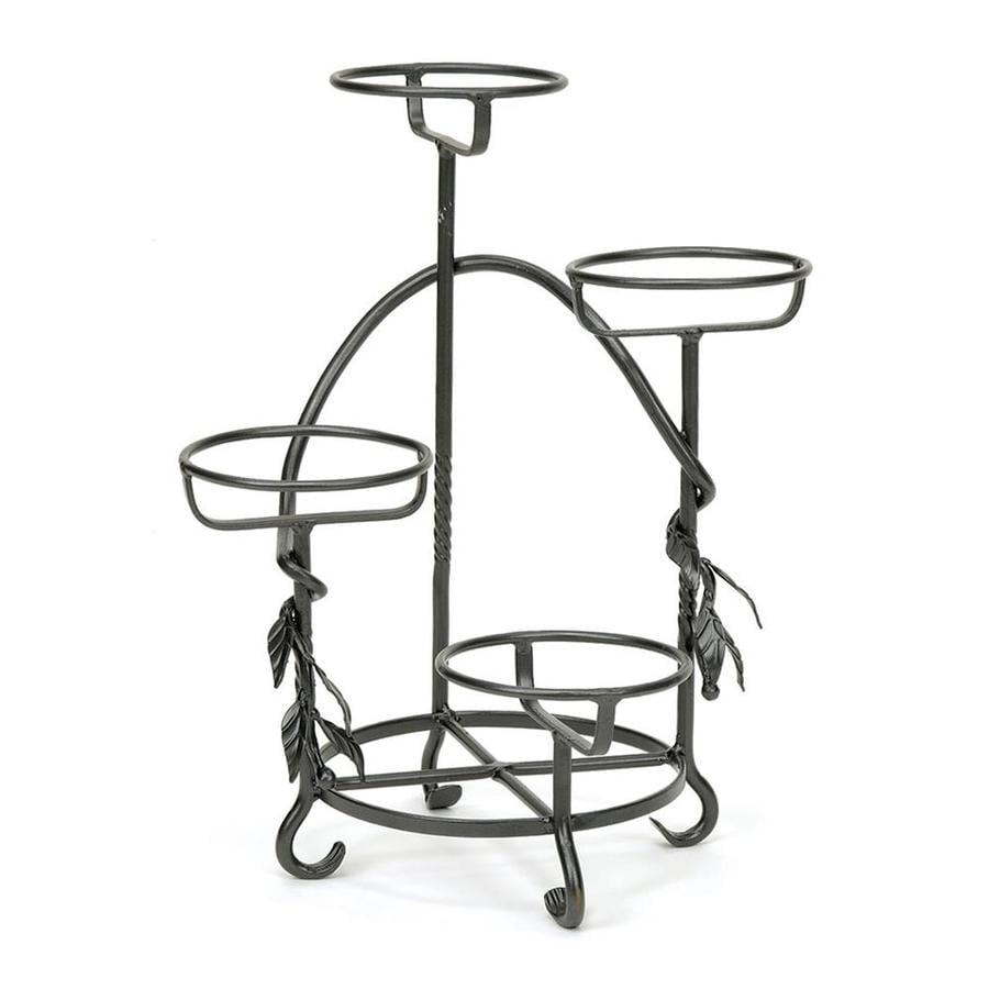 shop achla designs 18 in graphite indoor outdoor round wrought iron plant stand at. Black Bedroom Furniture Sets. Home Design Ideas