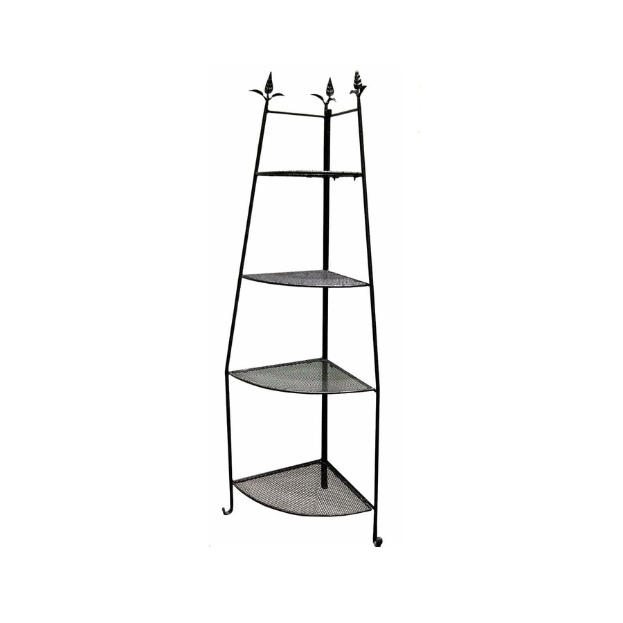 ACHLA Designs 72-in Black Indoor/Outdoor Corner Wrought Iron Plant Stand