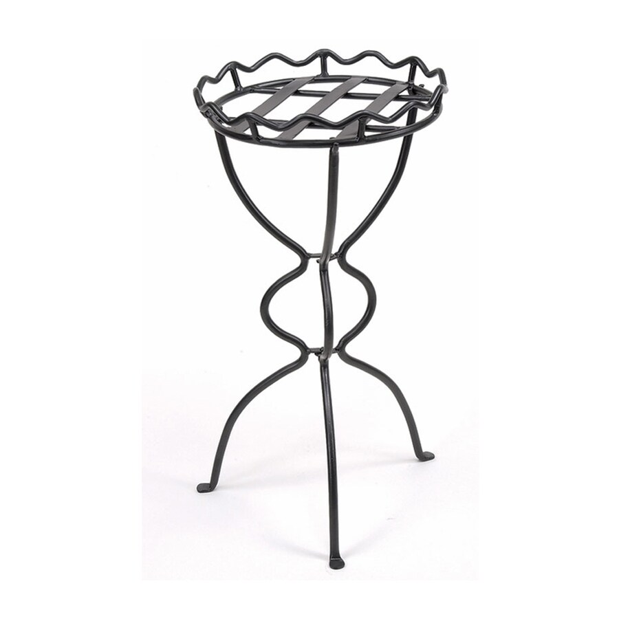 ACHLA Designs Virginia 28-in Graphite Indoor/Outdoor Round Wrought Iron Plant Stand