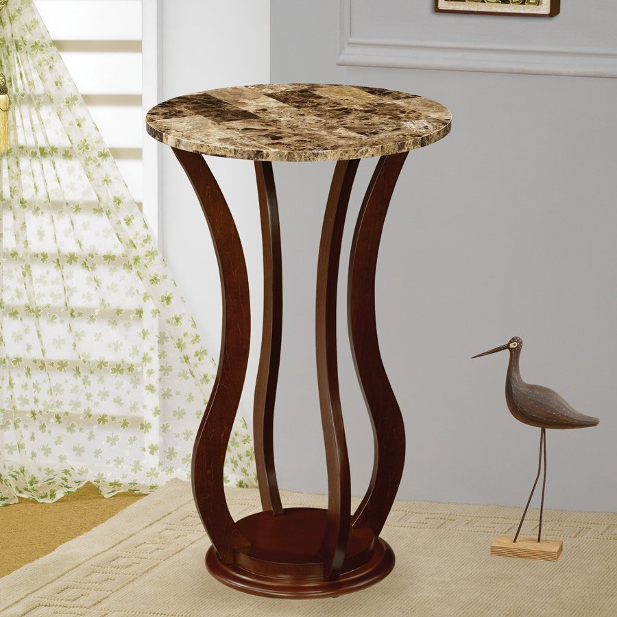 Coaster Fine Furniture 28.5-in Cherry Indoor Round Faux Marble Plant Stand