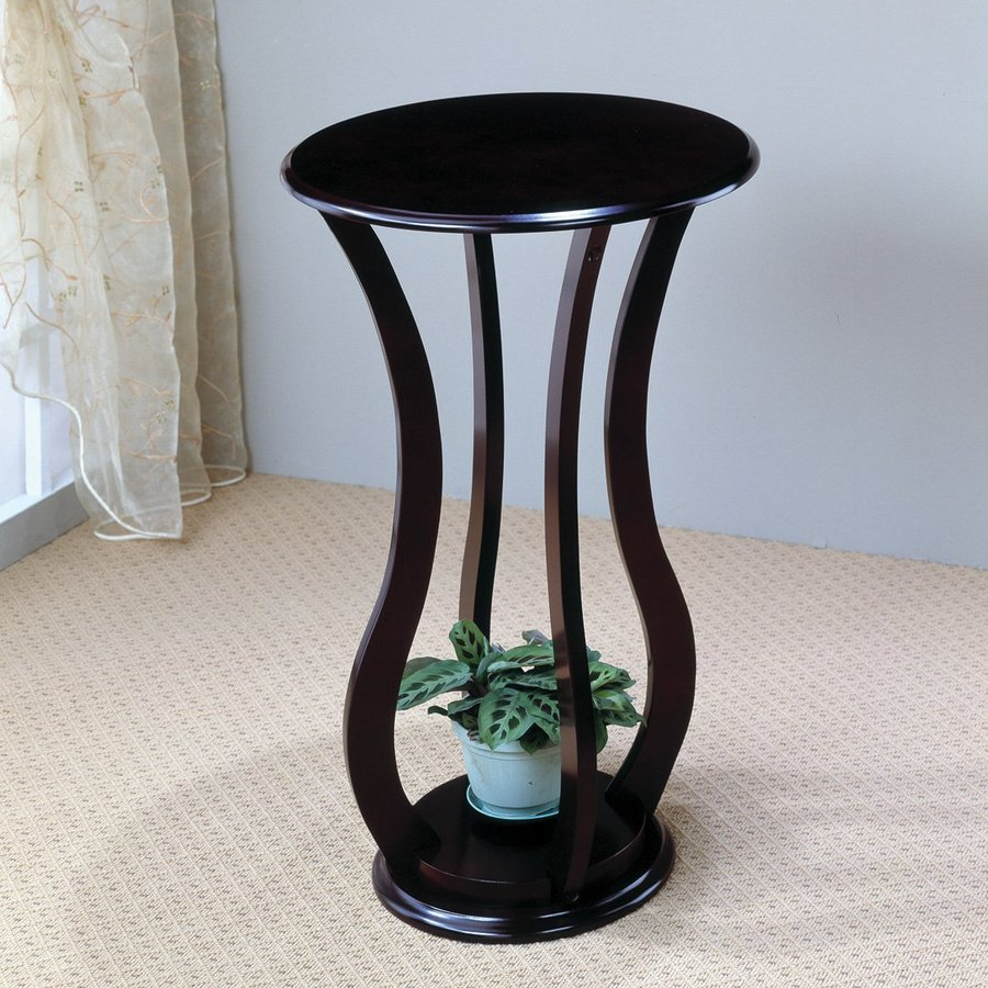 Shop coaster fine furniture 28 5 in cherry indoor round Plant stands for indoors