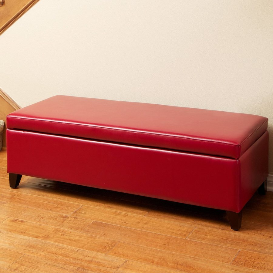 Best Selling Home Decor York Red Rectangle Storage Ottoman