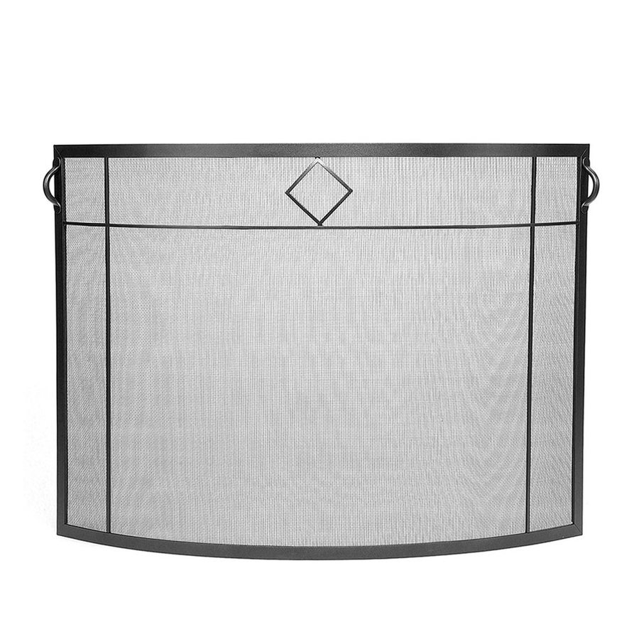 ACHLA Designs 39-in Graphite Iron Flat Fireplace Screen