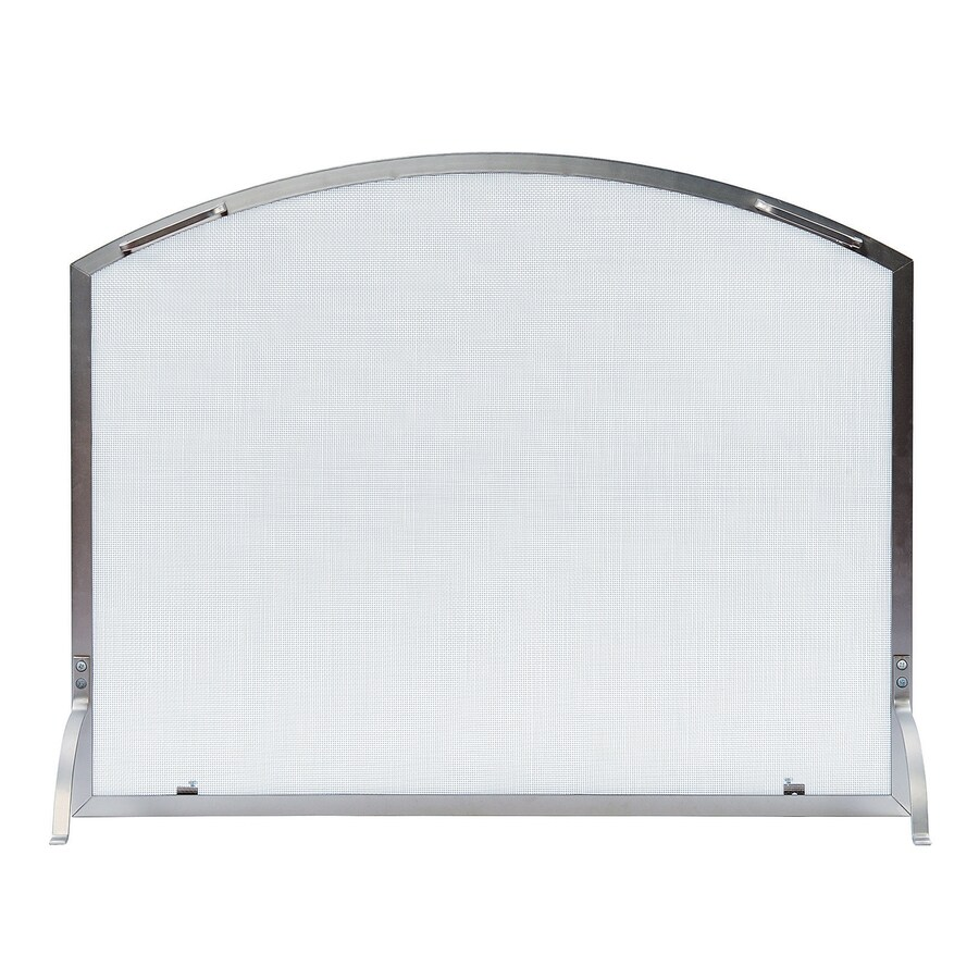 ACHLA Designs 38-in Brushed Steel Iron Arched Fireplace Screen