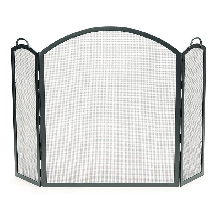 58 in graphite iron 3 panel arched fireplace screen at