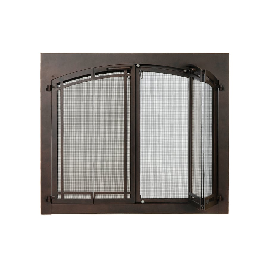 ACHLA Designs 38-in Roman Bronze Iron 4-Panel Arched Bi-Fold Fireplace Screen